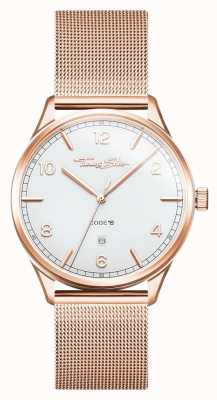Thomas Sabo |不锈钢玫瑰金手链|白色表盘| WA0341-265-202-40