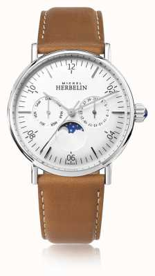 Michel Herbelin Montre灵感月相棕色皮革表带白色表盘 12747/AP11GO
