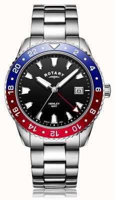 Rotary |男士不锈钢手链|黑色表盘| GB05108/30