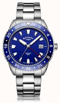 Rotary |男士不锈钢手链|蓝色表盘| GB05108/05