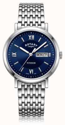 Rotary  男士不锈钢手链 蓝色表盘  GB05300/66