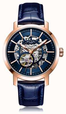 Rotary |男士蓝色皮革表带|玫瑰金表壳| GS05354/05