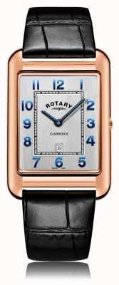 Rotary |男士黑色皮革表带|玫瑰金表壳| GS05284/70