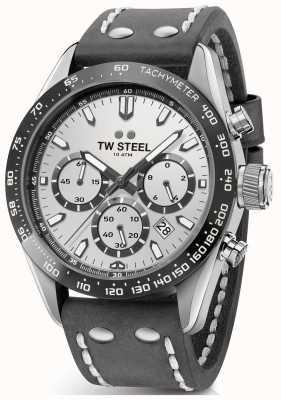 TW Steel |男士深灰色皮革表带|银色表盘| CHS3