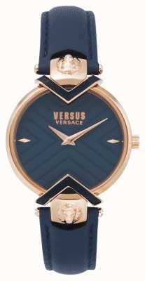 Versus Versace |女士蓝色皮革表带玫瑰金| VSPLH0419