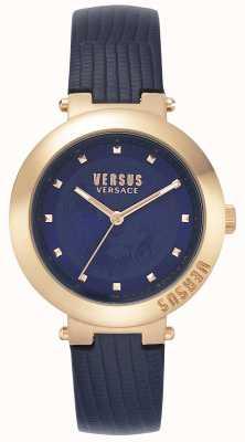 Versus Versace |女士蓝色皮革表带|玫瑰金表壳| VSPLJ0419