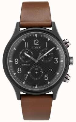 Timex | mk1钢超新星计时器|皮革手表| TW2T29600D7PF