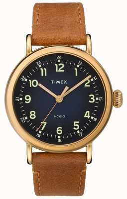 Timex |男士棕色皮革表带|蓝色表盘| TW2T20000D7PF
