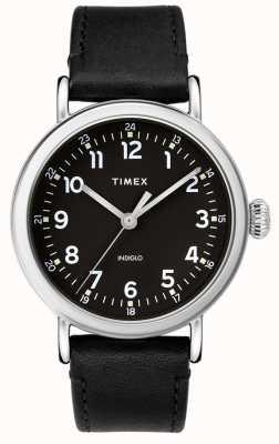 Timex |男士黑色皮表带|黑色表盘| TW2T20200D7PF