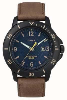Timex | gallatin太阳能棕色皮革|蓝色表盘| TW4B14600D7PF