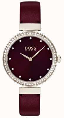 Hugo Boss |女士勃艮第皮革表带| 1502481