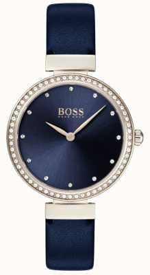 Boss |女士蓝色皮革表带|蓝色表盘| 1502477