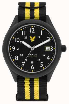 Lyle & Scott 男士隐形自动黑色黄色北约表带黑色表盘 LS-6006-01