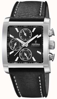 Festina |男士不锈钢计时码表|黑色皮革表带| F20424/3