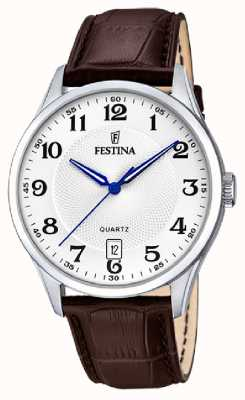 Festina 男士不锈钢|棕色皮革表带|银色表盘| F20426/1