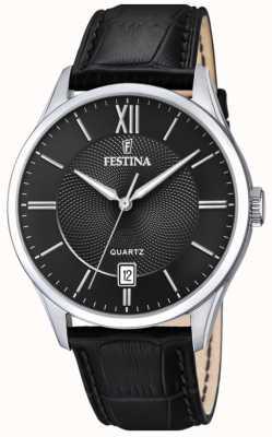 Festina |男士不锈钢|黑色皮革表带|黑色表盘| F20426/3