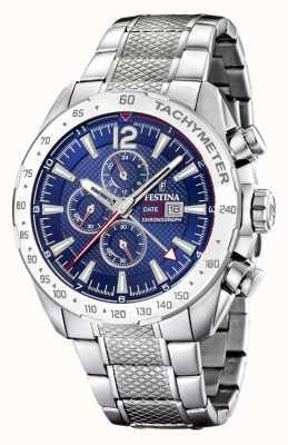 Festina |男士计时码表和双时间|蓝色表盘|钢手链 F20439/2