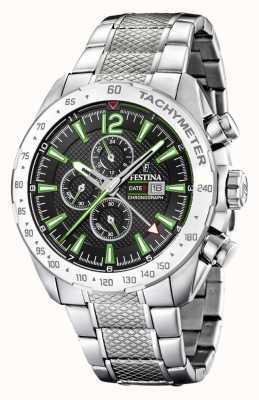 Festina |男士计时码表和双时间|黑色/绿色表盘| F20439/6