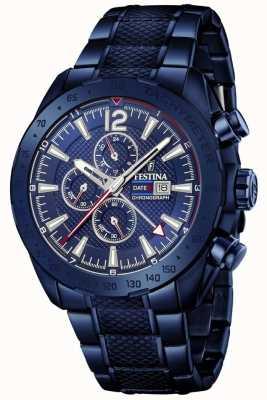 Festina |男士镀蓝色计时码表|不锈钢手链| F20442/1