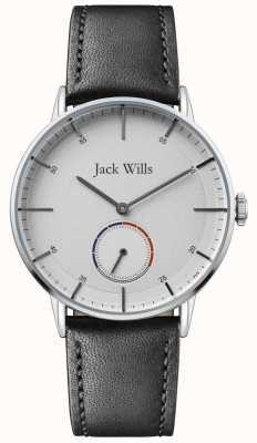 Jack Wills |男子巴特森二世|黑色皮革表带|白色表盘| JW002SLBK