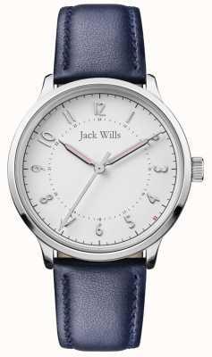 Jack Wills |女性知识|蓝色皮革表带|白色表盘| JW017WHNV