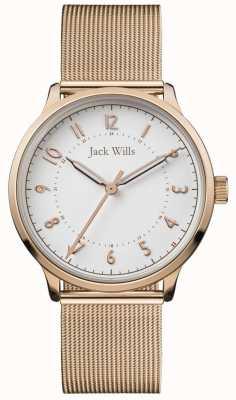 Jack Wills |女性知识|玫瑰金网|白色表盘| JW017WHRS