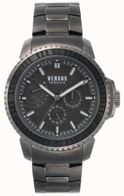 Versus Versace |男子阿伯丁|黑色表盘|灰色不锈钢手链 VSPLO0819