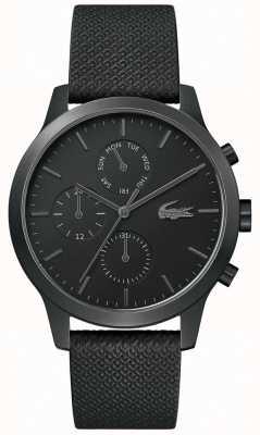 Lacoste |男士12-12 |黑色皮革表带|黑色表盘| 2010997