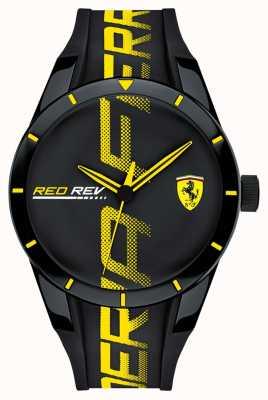 Scuderia Ferrari |男士redrev |黑色橡胶表带|黑色表盘| 0830615
