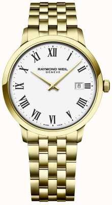 Raymond Weil |男士toccata |黄金不锈钢手链|白色表盘 5485-P-00300