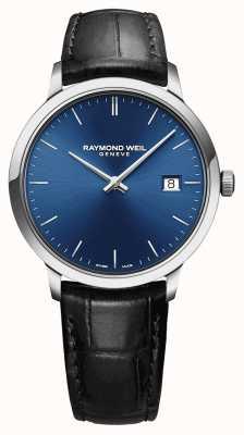 Raymond Weil 男士toccata蓝色表盘黑色皮革表带 5485-STC-50001