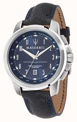 Maserati Successo蓝色表盘深蓝色皮表带 R8851121003