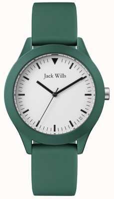 Jack Wills |男士绿色橡胶表带|白色表盘| JW009GRGR