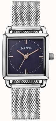 Jack Wills |女士钢网铆钉手表|蓝色表盘| JW016NVSL