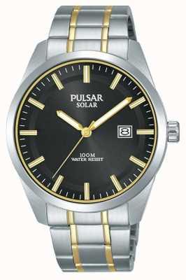 Pulsar 男士太阳能|双色不锈钢手链|黑色表盘 PX3169X1