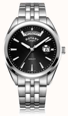 Rotary  男士亨利 黑色表盘 不锈钢手链  GB05290/04