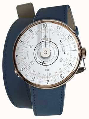 Klokers Klok 08白色手表头靛蓝蓝色双肩带 KLOK-08-D1+KLINK-02-380C3