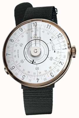 Klokers Klok 08白色手表头黑色纺织单肩带 KLOK-08-D1+KLINK-03-MC3
