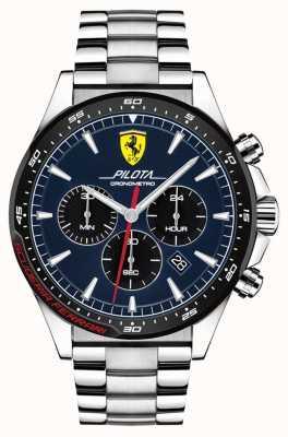 Scuderia Ferrari |男人的飞行员|不锈钢手链|蓝色表盘| 0830598