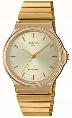 Casio |复古圆形手表|可扩展手链|金色表盘| MQ-24G-9EEF
