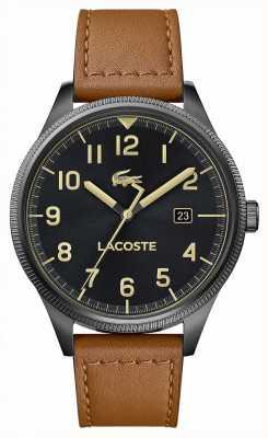 Lacoste |男士大陆|棕色皮革表带|黑色表盘| 2011021
