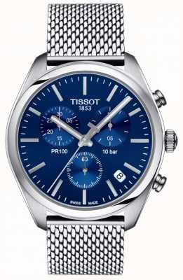 Tissot |男士pr100计时码表|网眼手链|蓝色表盘| T1014171104100
