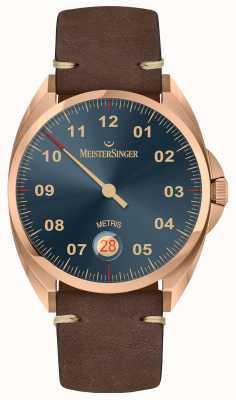 MeisterSinger 青铜线metris深棕色小牛皮表带 ME917BR
