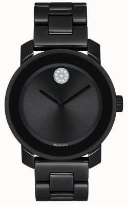 Movado |大胆|黑色pvd镀金手链|黑色表盘| 3600535