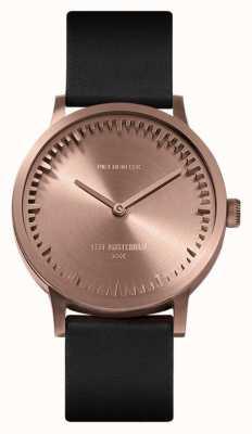 Leff Amsterdam |管表| t32 |玫瑰金|黑色皮革表带| LT74414