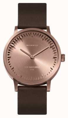 Leff Amsterdam |管表| t32 |玫瑰金|棕色皮革表带| LT74424