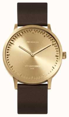 Leff Amsterdam |管表| t40 |黄铜|棕色皮革表带| LT75323