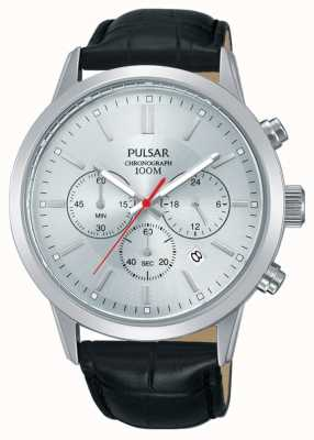 Pulsar |男士计时码表|银色表盘|黑色皮革表带| PT3749X1