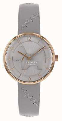 Radley |女式灰色皮革表带|灰色浮雕狗表盘 RY2804