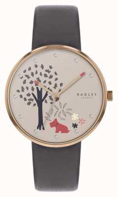 Radley |吃森林|树和狗图案拨号|灰色皮革| RY2788